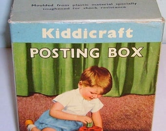 vintage Hilary Page Kiddicraft plastic Posting Box shape sorter Boxed