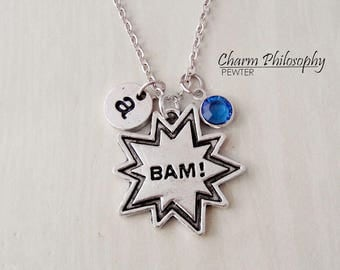 Comic Book Necklace - Bam! Charm - Popart Necklace - Antique Silver Onomatopoeia Charm - Monogram Personalized Initial and Birthstone