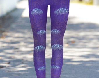 Boho Jellyfish Purple Leggings L, XL, Yoga Leggings, Printed Leggings, Workout, Boho Leggings, Woman Leggings, Colorful Leggings, Yoga Pants