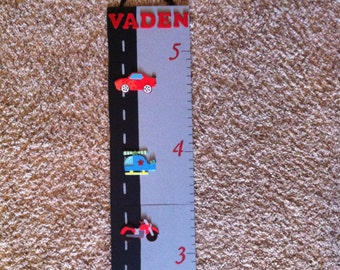 Wooden Growth Chart- Boy/ Cars/ Vehicles/ Foldable