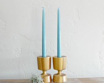 Vintage Danish Modern Candlesticks, Wood Candlesticks, Mid Century Modern Candle Stick, Wooden Candlesticks, MCM Candlesticks, Candle Holder