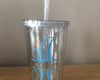 Personalised Initial Plastic Tumbler~Custom Made~Gift~Personalised Cup~Birthday Gift~Any Occasion