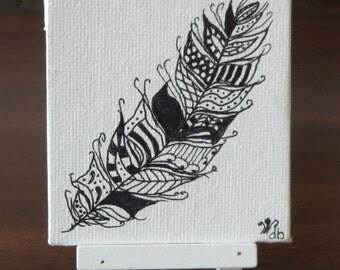 Zentangle Feather Drawing on a Painted Mini Canvas