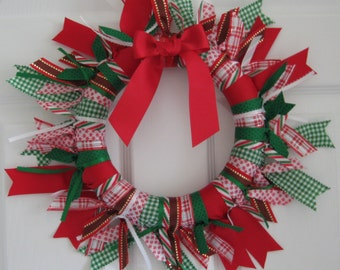 Red Green and White Christmas Ribbon Wreath