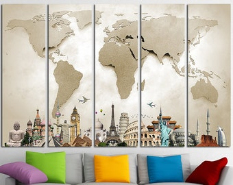 World Map Canvas Print Wall Art Multi Panel World Map Wall Decor World Map Print Old World Map Poster Wall Art Travel Map Canvas Art