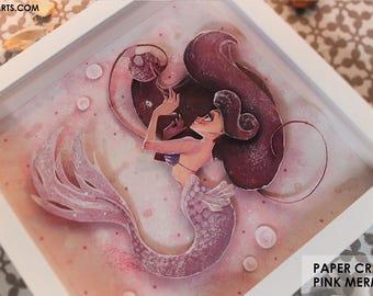 ORIGINAL PAPER CRAFT Pink Mermaid 23 x 23 cm