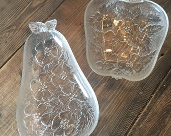 Pair of Vintage Hazel Atlas Apple/Pear Glass Dishes
