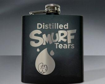 Distilled Smurf Tears Flask - 6 oz flask.