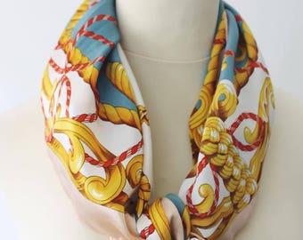 Vintage nautical sailor theme was spring silk scarf