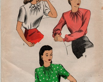 """Du Barry Sewing Pattern 1945 Blouse 6128 size 14, bust 32"""" complete used"""