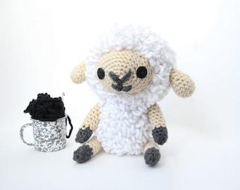 Crochet White Sheep – stuffed animal toy for children, handmade to order