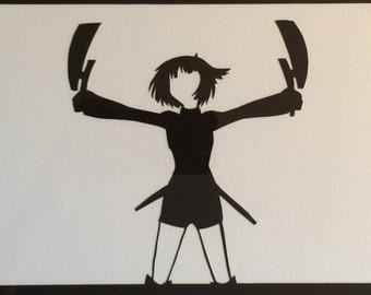 Konami Kirie // World Trigger // handcut paper art // anime // manga // framed