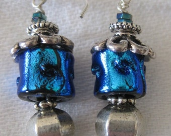 Blue, bright blue, Pewter bead drop earring
