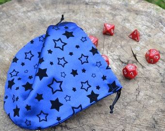 Drawstring Pouch - Blue Flocked Satin