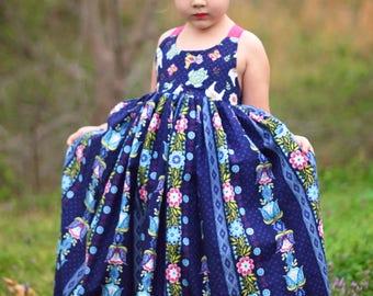 Girls Maxi Dress - Toddler Maxi Dress - Girls Sundress - Toddler Sundress - Girls Dress - Dramatic Girls Dress - Open Back Girls Dress