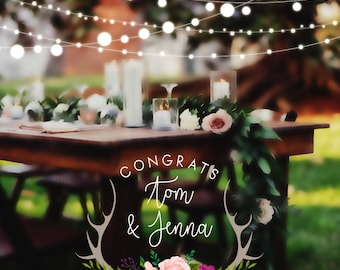 Snapchat Filter Wedding, Snapchat Geofilter, Wedding Geofilter, Snapchat Wedding, Rustic Elegance Wedding Filter, Lights, Antlers , WD07