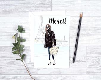 """Paris Merci  - Note Cards - 4""""x6"""" - Individual - Gifts for Her - Chanel - Eiffel Tower - Thank You Cards - Greeting Cards - Paris"""