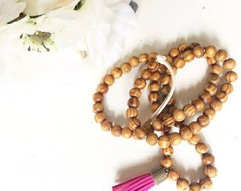 Tassel Necklace, Wood Bead Necklace, Wooden bead necklace, wood necklace, necklace, rustic jewelry,bohemian jewelry, boho necklace, bohemian