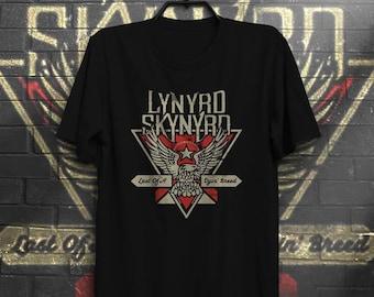 Lynyrd Skynyrd Ronnie Van Zant Black tee Man&Woman model Southern rock