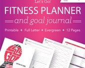 Fitness Planner Printable / Fitness Journal / Health Planner / Calorie Tracker / Workout Log / Weight Loss Tracker / 12 pgs // PDF Printable