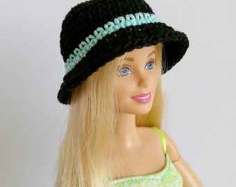 Black Barbie doll cloche hat with blue stripe, fashion doll hat