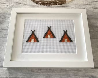 Framed Native 'Teepee Camp' Cross Stitched Wall Hanging - Boho, Wild, Mountain, Indians Home Decor