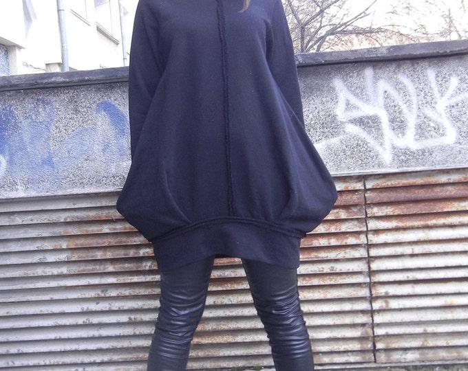 Loose Flattering Tunic / Avant Garde Casual Oversized  Dress Tunic / Plus Size Black Dress / Balloon Dress Tunic / Minimalist Black Dress