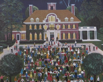 "Limited Edition Painting Reproduction Poster ""Concert on the Lawn"" by Jane Wooster Scott 20 x 25 inches"