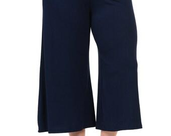 Elastic Waist Wide Leg Crop Culottes Pants Plus Size Navy
