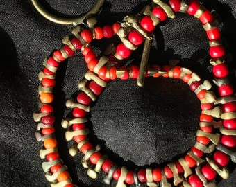 Old bronze beads necklace
