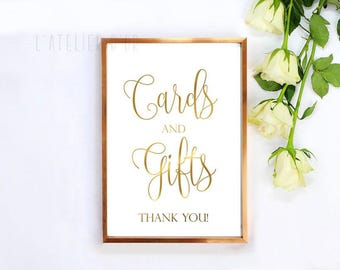 Cards and Gifts Wedding Sign - Gold Foil Wedding Sign - Reception Sign - Real Gold foil Sign -