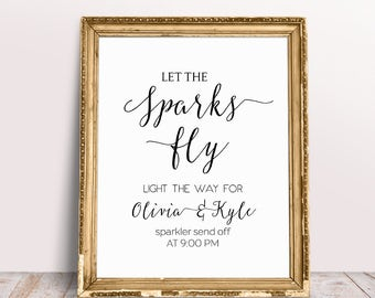 Let Sparks Fly, Light The Way For Mr And Mrs, Wedding Reception Signs, Custom Wedding Signs, Sparkler Send Off Sign, Wedding Sparklers Sign