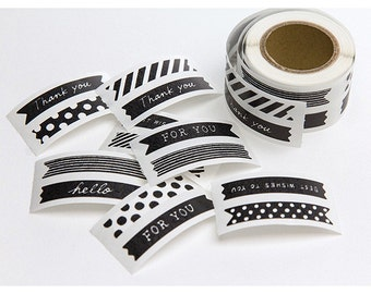 Black & White Stickers roll, Japanese stickers, Sticker seal, Thank you Stickers, Gift wrapping, Midori Stickers