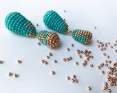 turquoise and rose gold tassel beaded long earrings,handmade and inspired by Frida Kahlo,statement jewelry,trendy for an amazing woman