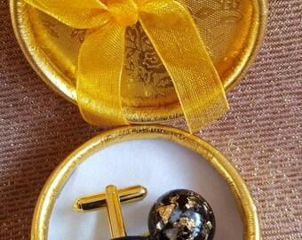 Orgonit® Manschettenknöpfe, VITAWUnder Manschettenknöpfe Runde Form, Unikat, Gold und Silber