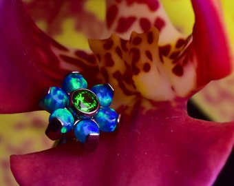 Sea Dream Opal & CZ Flower