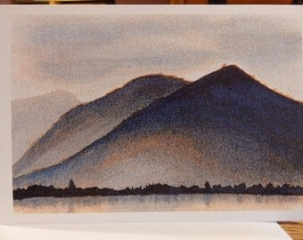 Artwork Blank Greeting Card - Stunning Lake District Scene Skiddaw at Dusk - Print of Original Ink Painting