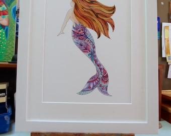 mermaids, mermaid art, mermaid wall decor, mermaid painting, mermaid zentangle, beach art, sea creatures, ocean art