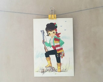 Kitsch Spanish embroidered silk postcard - Elsi Gumier, applique, traditional dress, boy, hunter, souvenir picture, 1980s