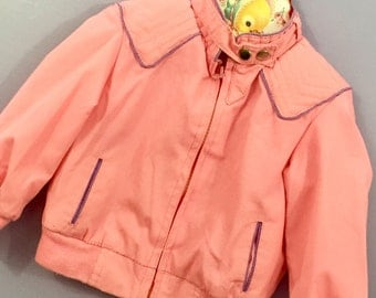 Vintage 1980s Pink Jacket Size 18 months, French Toast Pink Jacket, Toddler Girl Vintage Spring Jacket, Pink and Purple Toddler Jacket