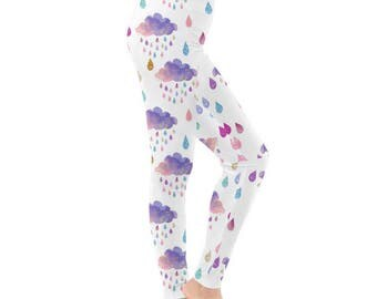Rainbow Cloud Leggings - Watercolor Leggings Cosplay Leggings Festival Leggings Oddity Apparel Leggings Rainbow Leggings Rain Leggings