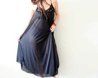 Vintage BlackFull-Length Night Gown | Dressing Gown | Lingerie