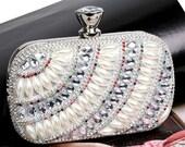 Luxury Evening Bag Silver  Pearl Effect Beaded Bridal Wedding Clutch BAG51