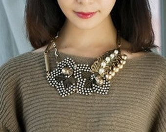Golden Crystal & Pearl Statement Necklace