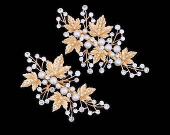 Pair of Yellow Gold Pearl and Crystal Hair Clip Bride Bridesmaid
