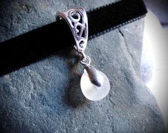 Seaglass Choker, Sea Glass Chocker, Velvet Choker, Seaglass Pendant, Seaglass Necklace, Sea Glass Necklace, Sea Glass Pendant - KZ16007