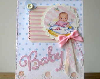 Handmade new baby girl card - pretty blue pink ribbons bows polka dot vintage
