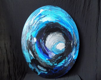 20x16 oval art, texture, contemporary abstract acrylic art modern painting wall art home decor blue art silver painting