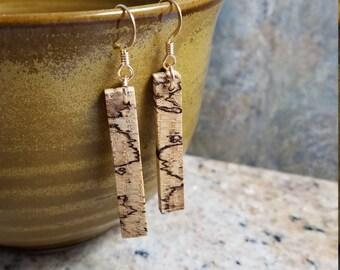Spalted Oak Wood Bar Earrings