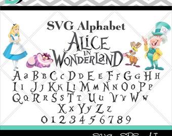 Alice in Wonderland svg,Alphabet svg Lettter svg, Numbers svg,Disney svg, SVG Files for Cricut, svg font,Cricut svg,svg files,Cut files,